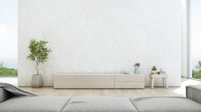 Salone di vista del mare della casa di spiaggia di lusso di estate con il supporto della TV ed il gabinetto di legno Fotografia Stock