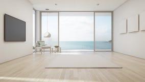 Salone di vista del mare della casa di spiaggia di lusso di estate con la grande porta di vetro ed il terrazzo di legno royalty illustrazione gratis