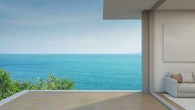 Salone di vista del mare nella casa di spiaggia moderna, terrazzo dell'albergo di lusso illustrazione vettoriale
