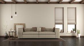 Salone elegante con il sofà su tappeto fotografia stock libera da diritti