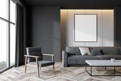 Salone grigio e bianco con il manifesto illustrazione di stock