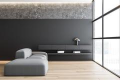 Salone grigio e concreto con il sofà royalty illustrazione gratis