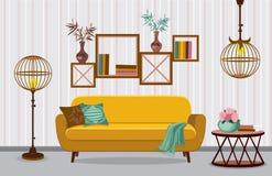 Salone interno Illustrazione nella progettazione piana con le ombre royalty illustrazione gratis