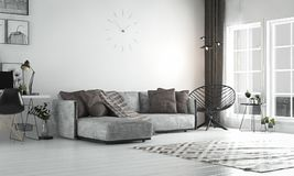 Salone interno, stile scandinavo, con il sofà & il furn sciolti Fotografie Stock