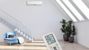 salone luminoso moderno degli interni con il illust del condizionamento d'aria immagine stock