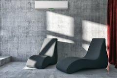 salone luminoso moderno degli interni con il illust del condizionamento d'aria immagini stock libere da diritti