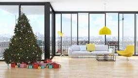 Salone luminoso moderno dell'appartamento degli interni con il tre di Natale Immagine Stock Libera da Diritti