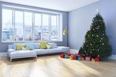 Salone luminoso moderno dell'appartamento degli interni con il tre di Natale Fotografie Stock Libere da Diritti