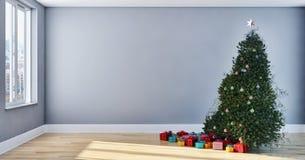 Salone luminoso moderno dell'appartamento degli interni con il tre di Natale Immagine Stock