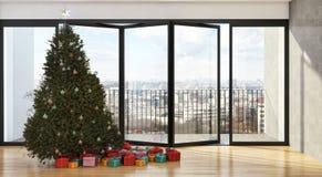Salone luminoso moderno dell'appartamento degli interni con il tre di Natale Fotografie Stock