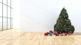 Salone luminoso moderno dell'appartamento degli interni con il tre di Natale Fotografia Stock