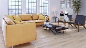 Salone luminoso moderno dell'appartamento degli interni con l'illustrazione della rappresentazione del sofà 3D video d archivio