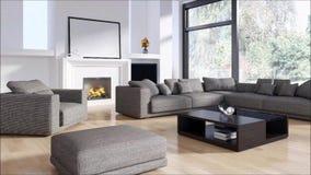 Salone luminoso moderno dell'appartamento degli interni con l'illustrazione della rappresentazione del sofà 3D stock footage