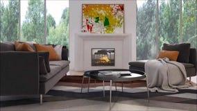 Salone luminoso moderno dell'appartamento degli interni con l'illustrazione della rappresentazione del sofà 3D archivi video