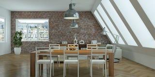 Salone luminoso moderno di interior design Immagine Stock