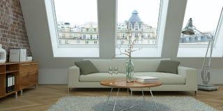 Salone luminoso moderno di interior design Fotografie Stock