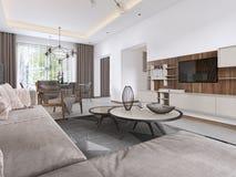 Salone lussuoso nello stile contemporaneo con il pannello decorativo di legno sulla parete Appartamento di studio con un sofà e p royalty illustrazione gratis