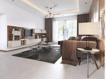 Salone lussuoso nello stile contemporaneo con il pannello decorativo di legno sulla parete Appartamento di studio con un sofà e p illustrazione di stock