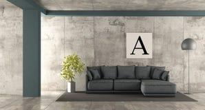 Salone minimalista con il sofà blu Fotografia Stock Libera da Diritti