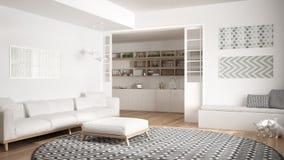Salone minimalista con il sofà, il grande tappeto rotondo e la cucina i Immagini Stock