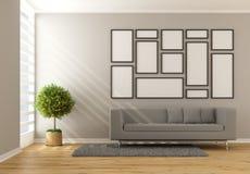 Salone minimalista contemporaneo illustrazione vettoriale