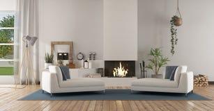 Salone moderno bianco con il camino fotografie stock