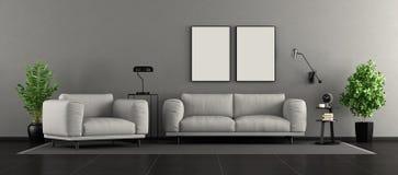 Salone moderno in bianco e nero fotografia stock libera da diritti
