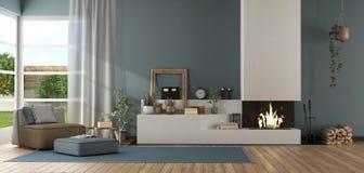 Salone moderno blu con il camino fotografia stock libera da diritti