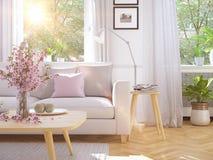 Salone moderno in casa urbana rappresentazione 3d Immagini Stock