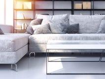 Salone moderno con il sofà accogliente rappresentazione 3d Fotografia Stock Libera da Diritti