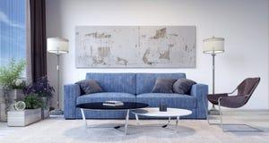 Salone moderno con il sofà delle blue jeans Fotografie Stock