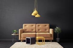 salone moderno con il sofà e la parete nera mobilia scandinava di interior design royalty illustrazione gratis