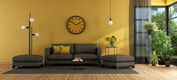 Salone moderno con il sofà ed il poggiapiedi immagini stock