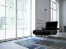 Salone moderno con la TV e l'impianto ad alta fedeltà 3d Immagine Stock