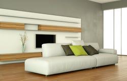 Salone moderno di interior design con il sofà e la televisione bianchi illustrazione vettoriale