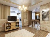 Salone moderno elegante e lussuoso Immagini Stock Libere da Diritti