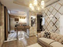 Salone moderno elegante e lussuoso Fotografia Stock Libera da Diritti