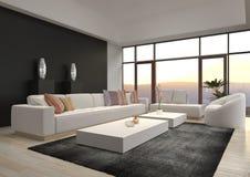 Salone moderno impressionante del sottotetto | Interno di architettura Fotografie Stock