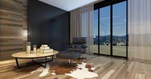 Salone moderno in una casa di lusso Fotografie Stock Libere da Diritti