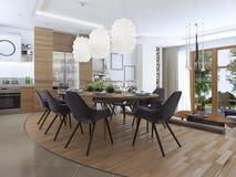 Salone moderno in uno stile del sottotetto Fotografia Stock