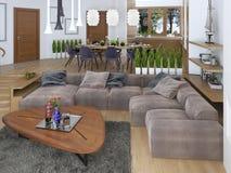 Salone moderno in uno stile del sottotetto Immagini Stock Libere da Diritti