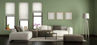 Salone moderno verde Fotografia Stock Libera da Diritti