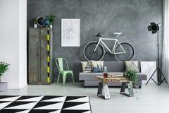 Salone monocromatico con la bici fotografie stock libere da diritti