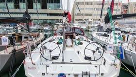Salone Nautico,赫诺瓦,意大利2017年-接近小船 库存图片