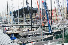 Salone Nautico, Genova, Italy 2017 - close up view of the luxurious boats . Royalty Free Stock Image