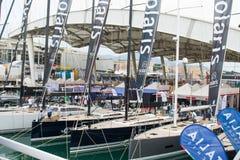 Salone Nautico, Genova, Italy 2017 - close up view of the luxurious boats . Stock Image