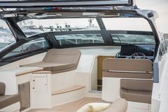 Inside of luxury sport Yacht. Salone Nautico in Genova, Italy 2017. On display big modern luxury white yacht. Interior of a commercial yacht Stock Photography