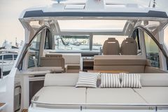 Inside of luxury sport Yacht. Salone Nautico in Genova, Italy 2017. On display big modern luxury white yacht. Interior of a commercial yacht Royalty Free Stock Images