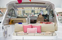 Inside of luxury sport Yacht. Salone Nautico in Genova, Italy 2017. On display big modern luxury white yacht. Interior of a commercial yacht Stock Photos
