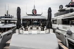 Inside of luxury sport Yacht. Salone Nautico in Genova, Italy 2017. On display big modern luxury white yacht. Interior of a commercial yacht Royalty Free Stock Photography
